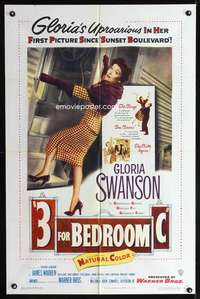 k004 3 FOR BEDROOM C one-sheet movie poster '52 sexy Gloria Swanson!