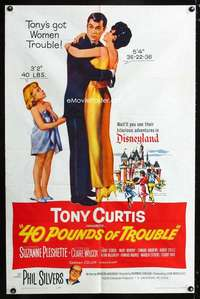 k009 40 POUNDS OF TROUBLE one-sheet movie poster '63 Tony Curtis, Pleshette