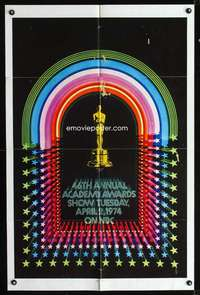 k010 46TH ANNUAL ACADEMY AWARDS one-sheet movie poster '74 Oscar statuette!