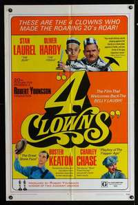 k005 4 CLOWNS one-sheet movie poster '70 Laurel & Hardy, Buster Keaton