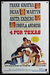 k006 4 FOR TEXAS one-sheet movie poster '64 Frank Sinatra, Dean Martin