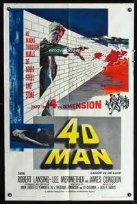 k012 4D MAN one-sheet movie poster '59 Robert Lansing walks through walls!