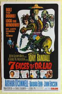 k014 7 FACES OF DR LAO one-sheet movie poster '64 Tony Randall, cool image!
