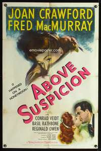k018 ABOVE SUSPICION style C one-sheet movie poster '43 Joan Crawford