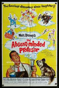 k019 ABSENT-MINDED PROFESSOR one-sheet movie poster R74 Disney, Flubber!