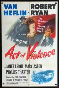 k021 ACT OF VIOLENCE one-sheet movie poster '49 Fred Zinnemann, Janet Leigh