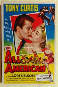 k026 ALL AMERICAN one-sheet movie poster '53 Tony Curtis, Mamie Van Doren