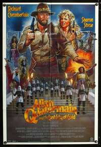 k030 ALLAN QUATERMAIN & THE LOST CITY OF GOLD 1sh '86 J.D. art of Chamberlain, Sharon Stone!