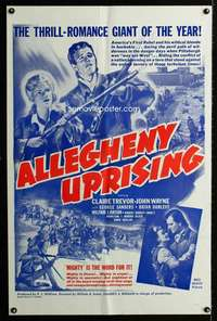 k031 ALLEGHENY UPRISING military one-sheet movie poster R60s John Wayne