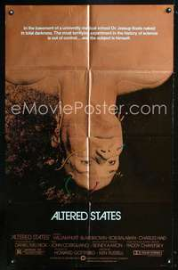k032 ALTERED STATES foil one-sheet movie poster '80 William Hurt, Chayefsky