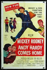 k036 ANDY HARDY COMES HOME one-sheet movie poster '58 Mickey Rooney & son!