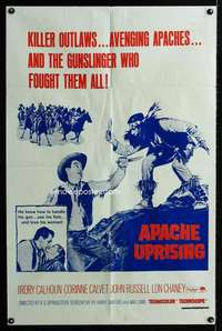 k039 APACHE UPRISING military one-sheet movie poster '66 Native Americans!