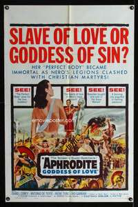 k040 APHRODITE GODDESS OF LOVE one-sheet movie poster '60 w/perfect body!
