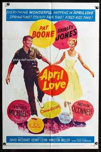 k042 APRIL LOVE one-sheet movie poster '57 Pat Boone, Shirley Jones