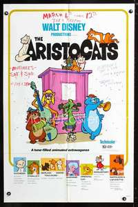 k043 ARISTOCATS one-sheet movie poster R80 Walt Disney feline cartoon!