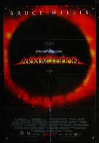 k044 ARMAGEDDON advance one-sheet movie poster '98 Bruce Willis, Michael Bay