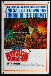 k046 ATTACK ON THE IRON COAST one-sheet movie poster '68 Lloyd Bridges