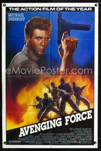 k047 AVENGING FORCE one-sheet movie poster '86 Dudikoff, THE action film!