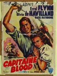 a117 CAPTAIN BLOOD Belgian movie poster R50s Errol Flynn, Wik art!