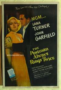 h001 POSTMAN ALWAYS RINGS TWICE one-sheet movie poster '46 Lana Turner