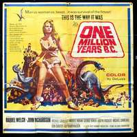 k018 ONE MILLION YEARS B.C. six-sheet movie poster '66 sexy Raquel Welch!