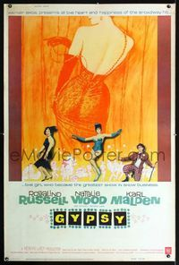 n077 GYPSY Forty by Sixty movie poster '62 Rosalind Russell, Natalie Wood