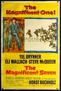 n078 MAGNIFICENT SEVEN Forty by Sixty movie poster '60 Yul Brynner, McQueen