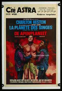 n011 PLANET OF THE APES Belgian movie poster '68 Ray artwork!