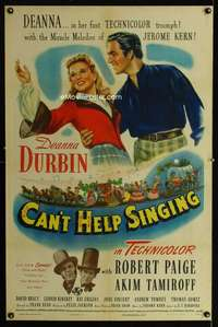 n028 CAN'T HELP SINGING one-sheet movie poster '44 Deanna Durbin, Paige
