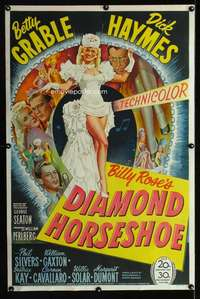 n029 DIAMOND HORSESHOE one-sheet movie poster '45 sexy Grable stone litho!