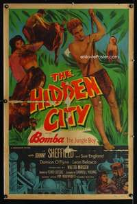 n063 HIDDEN CITY one-sheet movie poster '50 Johnny Sheffield as Bomba!
