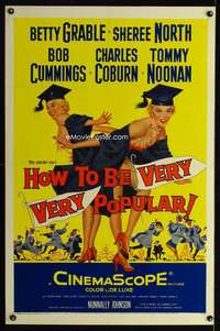 n033 HOW TO BE VERY, VERY POPULAR one-sheet movie poster '55 Betty Grable
