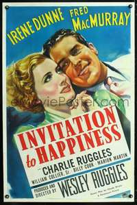 n034 INVITATION TO HAPPINESS one-sheet movie poster '39 art of Irene Dunne!