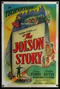 n036 JOLSON STORY style B one-sheet movie poster '46 Larry Parks classic!