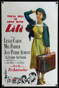 n038 LILI one-sheet movie poster '52 you'll fall in love with Leslie Caron