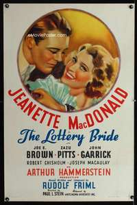 n039 LOTTERY BRIDE one-sheet movie poster R37 art of Jeanette MacDonald!