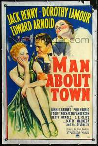 n065 MAN ABOUT TOWN one-sheet movie poster '39 Jack Benny, Grable, Lamour