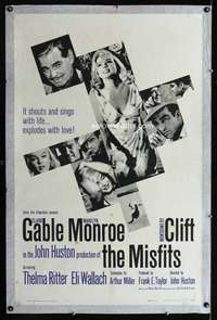 n066 MISFITS one-sheet movie poster '61 Clark Gable, Marilyn Monroe, Clift