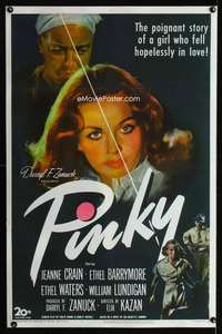 n041 PINKY one-sheet movie poster '49 classic half-white/half-black image!