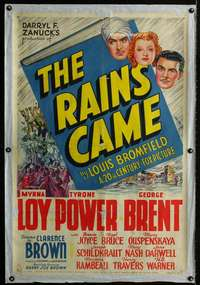 n067 RAINS CAME one-sheet movie poster '39 Myrna Loy, Tyrone Power, Brent