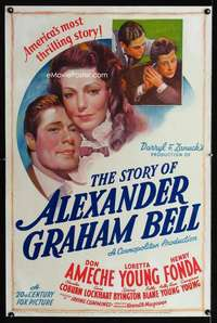 n043 STORY OF ALEXANDER GRAHAM BELL one-sheet movie poster '39 Don Ameche