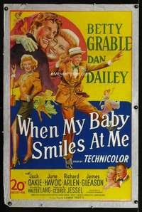 n068 WHEN MY BABY SMILES AT ME one-sheet movie poster '48 Betty Grable