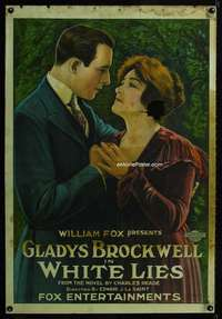 n058 WHITE LIES one-sheet movie poster '20 Gladys Brockwell stone litho!