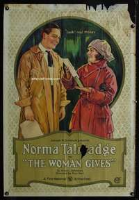 n060 WOMAN GIVES one-sheet movie poster '20 Norma Talmadge stone litho!