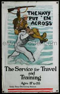n003 SERVICE FOR TRAVEL AND TRAINING WWI Navy recruiting poster '18