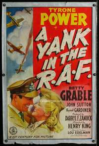 n069 YANK IN THE R.A.F. one-sheet movie poster '41 Tyrone Power, Grable