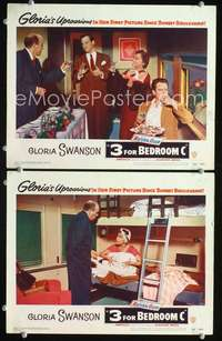 z025 3 FOR BEDROOM C 2 movie lobby cards '52 Gloria Swanson, Conried