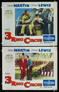 z027 3 RING CIRCUS 2 movie lobby cards '54 Dean Martin & Jerry Lewis!