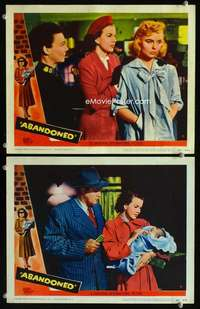 z035 ABANDONED 2 movie lobby cards '49 Dennis O'Keefe, Gale Storm