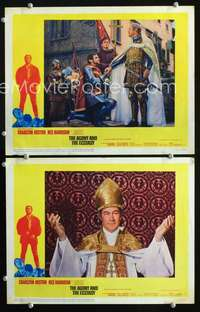 z046 AGONY & THE ECSTASY 2 movie lobby cards '65 Rex Harrison in both!